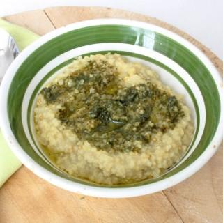 Zuppa di miglio al pesto di salvia