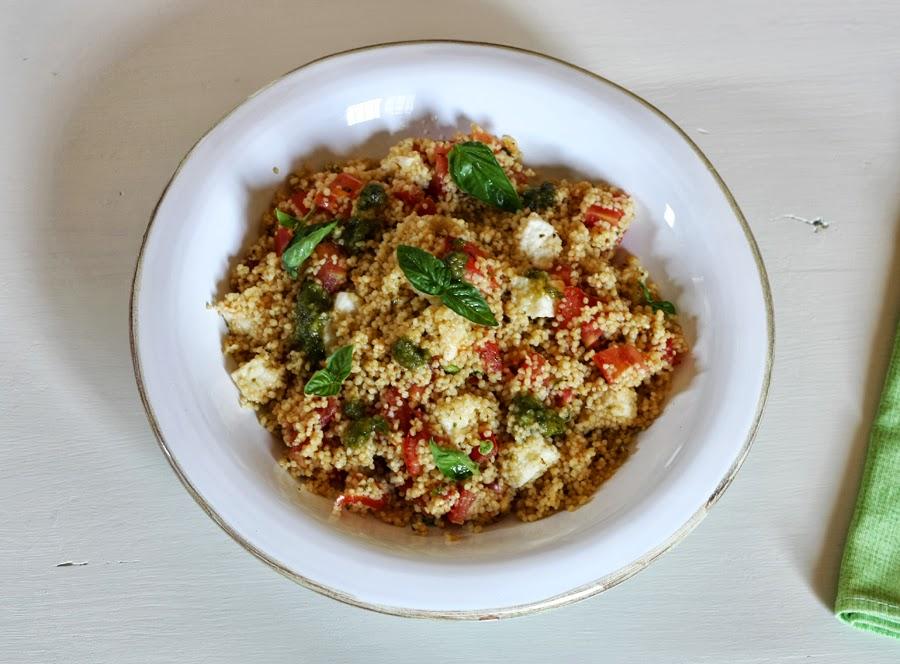 Couscous al pesto, pomodori ricetta