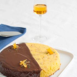 dolce alla farina gialla, olio extravergine arancia e timo