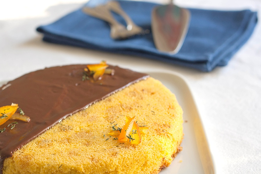 dolce alla farina gialla, olio extravergine, arancia
