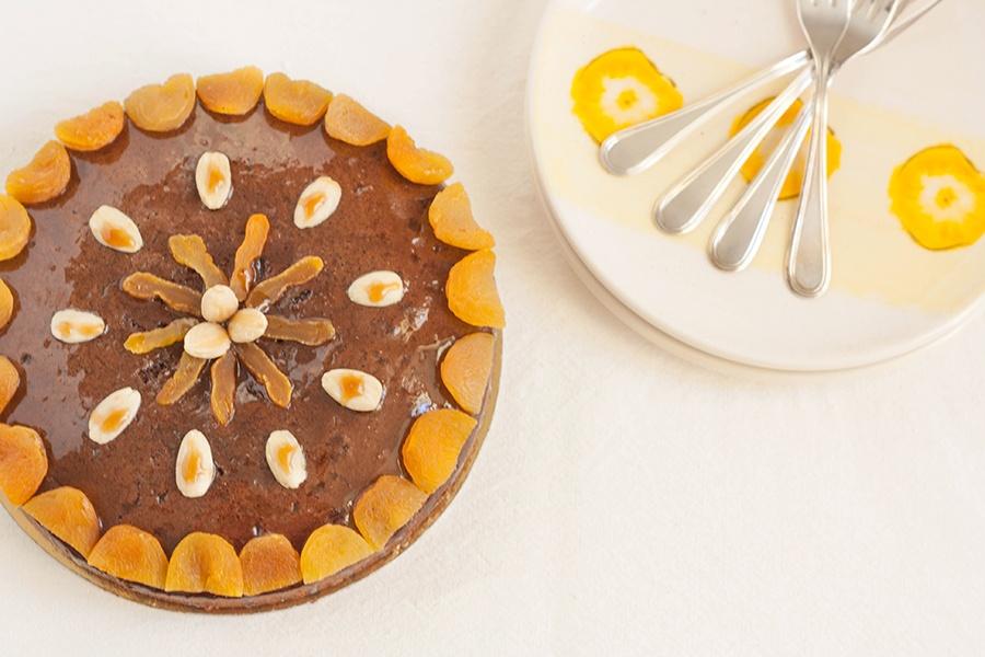 torta cacao con olio extravergine albicocche