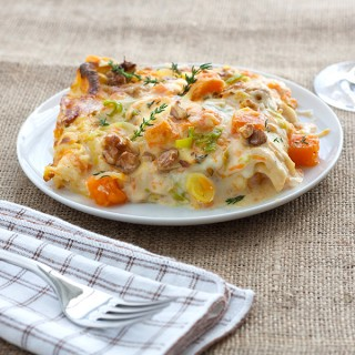 Lasagne alla zucca e porro con gorgonzola e noci