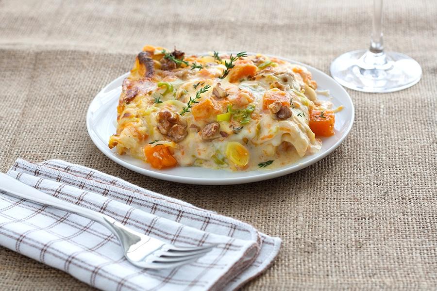 Kürbis-Lauch Lasagne